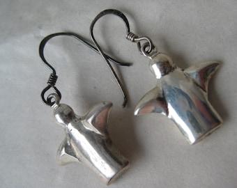 Modern Sterling Dangle Earrings Pierced Wire Silver Vintage 925 Mod
