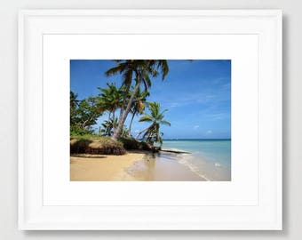 Photo Digital Download Print image Ocean Coastal Tropical Sea Beach Palm Trees by L.Dumas
