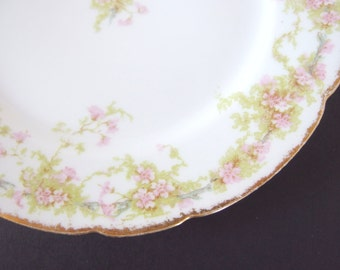 5 Vintage Charles Field Haviland Limoges GDA Bread and Butter Plates with Pink Flowers, Blue Branch