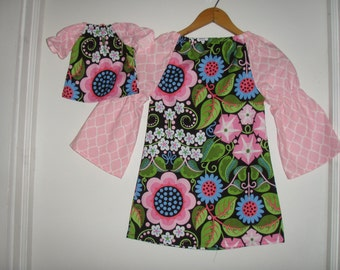 doll and me Tunic  dress American Girl Doll matching dress black pink floral  long sleeves   2t, 3t, 4t, 5t, 6, 7, 8, 10