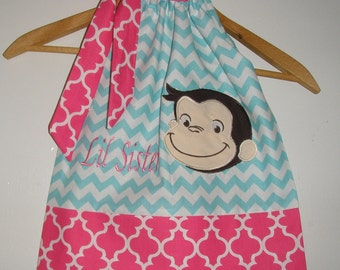 Dress Curious George Dress  Monogrammed aqua pink Chevron  pillowcase dress 3 6,12 18 month 2t,3t,4t 5t,6,7,8,10