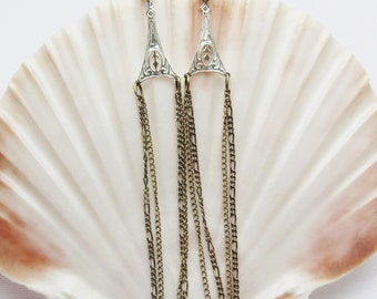 Long Sterling Chain Earrings Vintage Jewelry E7247