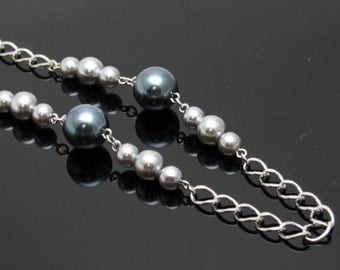 Vintage Gray Pearl Necklace Long Chain Trifari Jewelry N7469