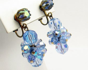 Long Dangly Blue Crystal Earrings Vintage Crystal Jewelry E7665