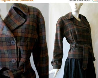 MOVING 4 GRADSCHOOL SALE Vintage European motorcycle cut jacket, wool blend plaid in brown, rust, moss green, and black, about a medium