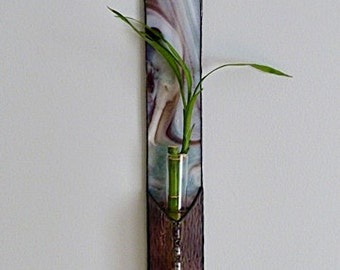 Stained Glass Panel, Lucky Bamboo Plant, Mauve Blended Glass, Window Suncatcher