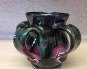 cranberry and black glaze 4 handled mug