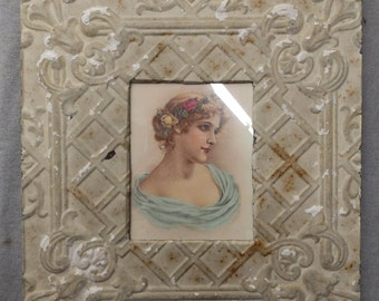 TIN CEILING Sage Picture Frame 8x10 Shabby Recycled chic 539-16