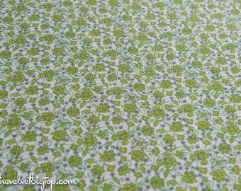Stylized Floral - Vintage Fabric Full Feedsack 50s 60s Lime Green Purple