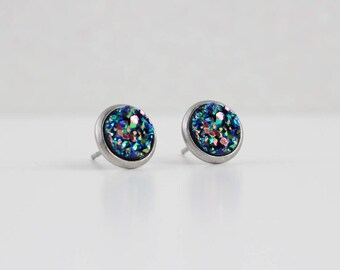 Blue Green Gold Pink Druzy Crystal Earrings | ATL-E-190