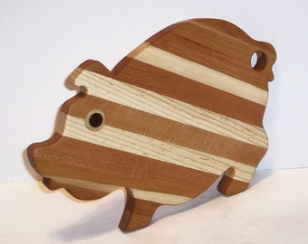 Fancy PIG Cutting Board Handcrafted from Mixed Hardwoods