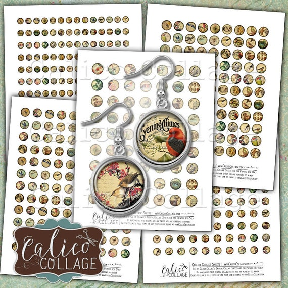 Vintage Birds, Digital Collage, 10mm, 12mm, 14mm, 16mm, 18mm, Collage Sheet, Earring Images, Tiny Circles, Digital Circles, Printable Images