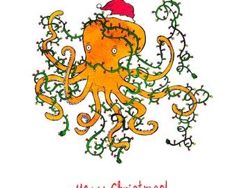 Tangled Christmas - humorous, whimsical, pen and ink, digital, funny, humor