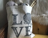 LOVE knitting tote bag