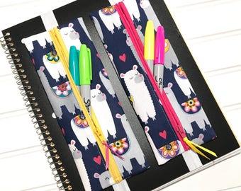 Llama gift, Llama pencil pouch, Planner band, Art Gallery, pen case, Erin Condren, Pencil holder, Teacher gift, Planner accessories, Filofax