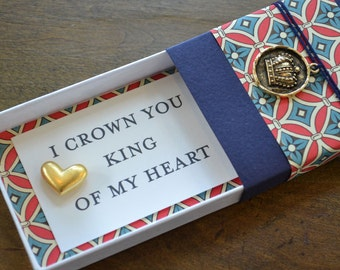 King of My Heart Message Box with Gold Heart Token and Gift Bag