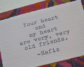Old Friends Typed Greeting Card