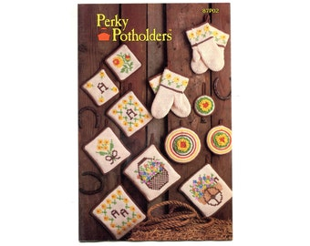 Perky Pot Holders Crochet Pattern Book Potholders Kitchen Decor Spring Flowers Round Square Mittens Hot Pads Yellow Bouquet Annie's Club