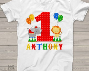 circus 1st birthday shirt PRIMARY COLORS - circus elephant lion theme birthday party shirt MBD-016