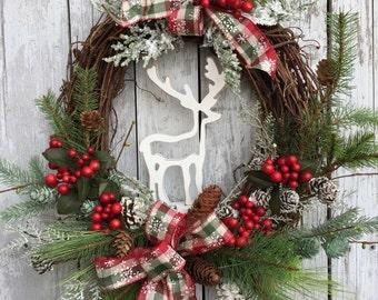 Christmas Wreath, Reindeer Wreaths, Country Christmas Wreath, Artificial Pine Christmas Wreath for Door