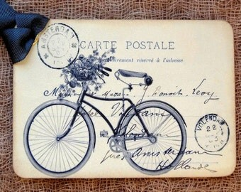 French Style  Bicycle Postcard Gift or Scrapbook Tags or Magnet #570