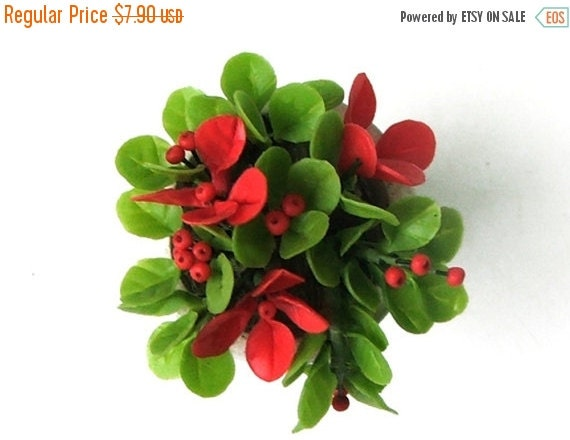 Miniature Polymer Clay Flowers Supplies Red berry and Green in Roman Urn