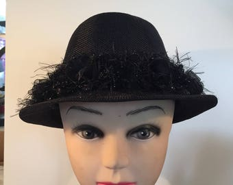 Fedora Hat - Black Rose with  Rhinestone and Beaded Accent Band