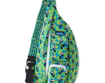 Monogrammed Kavu Rope Bags - Blue Toucan - Great gift for College, Teens, Women, Outdoors Satchel Crossbody Tote
