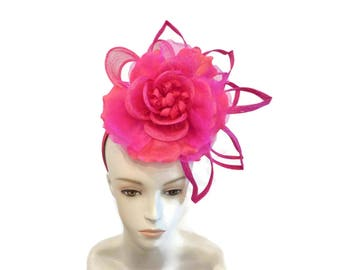 "Women's Kentucky Derby Fascinator Headband, Ascot Fashion, Burlesque Fascinator Headpiece in Tonal Fuchsia Pink  ""Fascinator Fantaisie"""