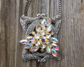 Gorgeous Aurora Borealis Vintage Restyled Necklace