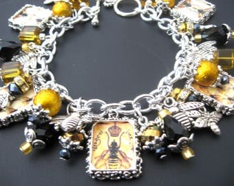 Bee Jewelry, Bee Bracelet, Honey Jewelry, Honey Bracelet, Beehive, Gabaldon Jewelry, Outlander Bracelet, Gold Bracelet, Gold Jewelry,