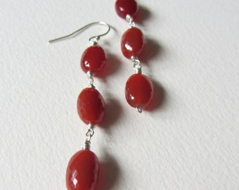 Three Stone Orange Carnelian Earrings with Sterling Silver