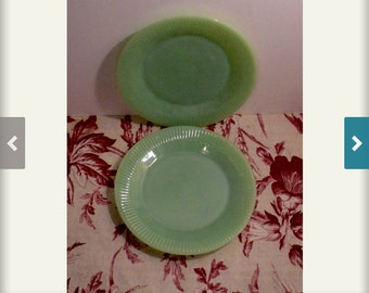 Jadeite Plates Set Two Luncheon Plates Ribbed Edge