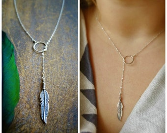 Sterling silver feather lariat, y necklace, feather necklace, native america, southwest style, boho, plunging necklace, layering, Otis B