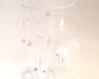 Bright White & Cream Felt Elephant Crib/Nursery Mobile