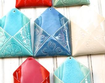 SECONDS SALE porcelain envelope wall vase