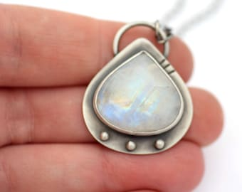 Moonstone Necklace, Oxidized Silver Necklace, Inspired by Space, Orbital Necklace, Contemporary Jewelry, Artisan Metalsmith