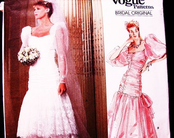 1980s Vogue Wedding Dress Pattern Misses size 12 UNCUT Puff Sleeve Ruched Boned Bodice Dress Big Bow and Bridesmaid Dress Sewing Pattern
