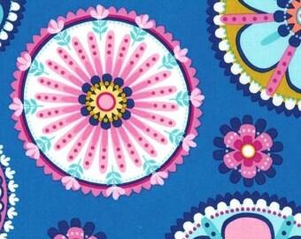 214386 blue Michael Miller fabric pink navy blue flower La Dee Da