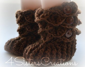 """American Girl Crocodile Stitch Brown Booties with Buttons -  18"""" Doll Crochet Boots - Made and Ready to go"""