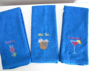 Blue  Terry Cloth Hand Towel with machine embroidered MAI TAI or COSMOPOLITAN drink