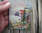 Reserved for Michele, Miniature Oil Painting Scenic Italian Vila by the Sea, Unframed Painting shades of pink,  purple, and terra-cotta