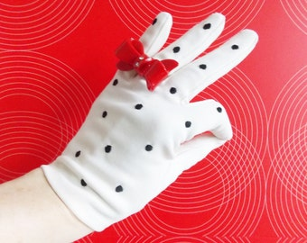 1950s black and white polkadot gloves/50s wedding gloves/ WWII swing era gloves/ rockabilly gloves/ 50s evening gloves