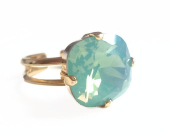Mint opal square stone crystal ring - cushion cut crystal ring - Swarovski crystal - Swarovski ring - mint green