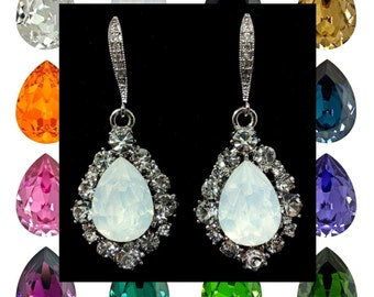 Bridal Earrings, Teardrop Wedding Earrings, Pear Drop Earrings, Dangle Earrings, Swarovski Crystal Bridal Jewelry, Bridesmaid Gift, BIJOUX