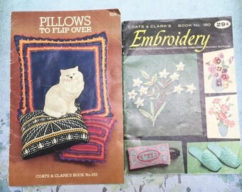 Coats & Clark Embroidery #180 Pillows to Flip Over #252 Booklets