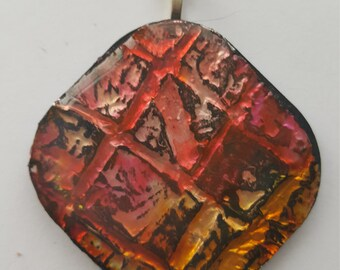 Iridescent Pink Red Gold Texture Abstract Necklace Pendant Pendent Stainless Steel
