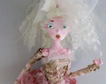 BALLERINA ALEXANDRIA, Japanese paper clay puppet art doll, handmade in the USA