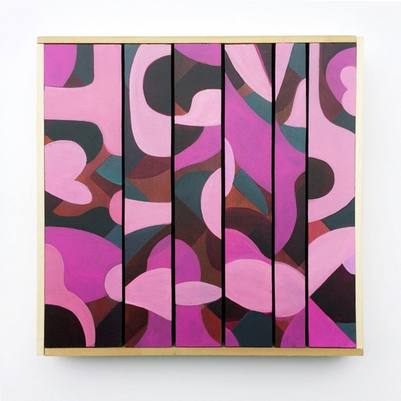 "Love Letters - Original Painting on wood slats - 10"" x 10"""