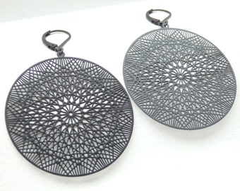 Dream Catcher Matte Black Earrings